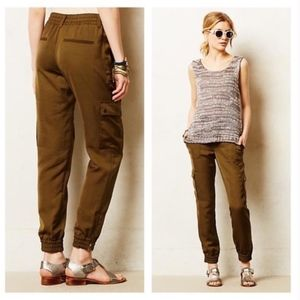 Anthropologie Elevenses Aubrey Cargo Joggers Green